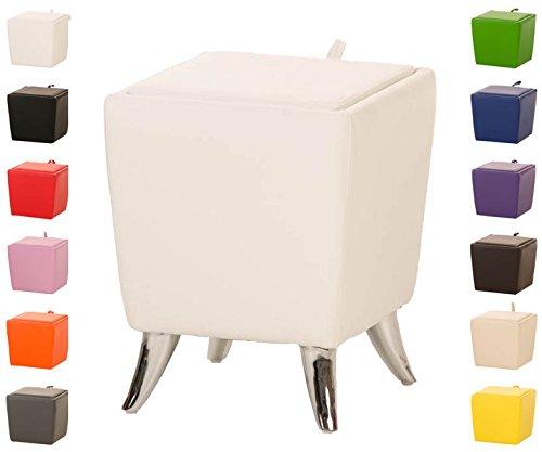 CLP Taburete Bajo de Almacenamiento Roxy I Taburete Reposapiés en Cuero Sintético I Otomana Almacenaje Moderna I Color: Blanco