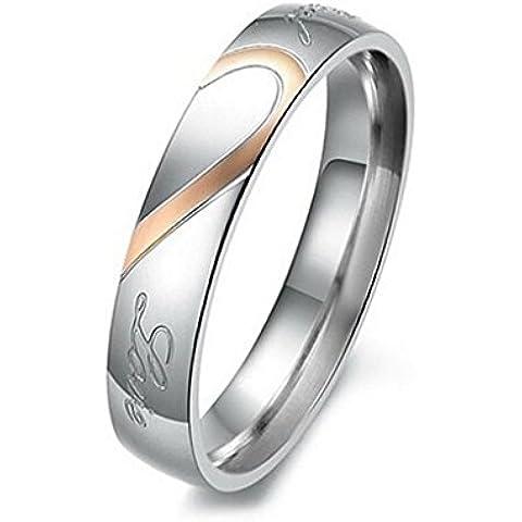 Donna Matrimonio Banda Acciaio InossidabileAmore Vero Coppie Cuore Anelli Dimensione 15 Di AieniD