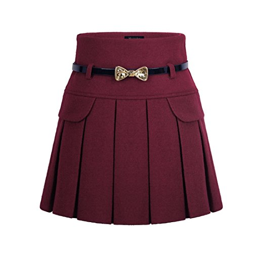 Wincolor Damen Wolle A-linie Hoher Bund Plissee Kurz Mini Rock mit Waistband (Skirt Knee-length Flare)