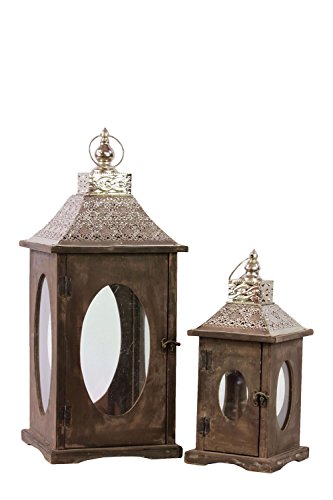 Urban Trends 94633 Square Lantern With Silver Pierced Metal Top, Ring Hanger And Glass Windows Set Of Two Stained Wood Finish Brown, Not Applicable
