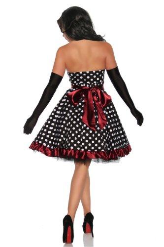 Vintage Rockabilly-Kleid Damen Oberteil Kleid Dress mit Schärpe - 2