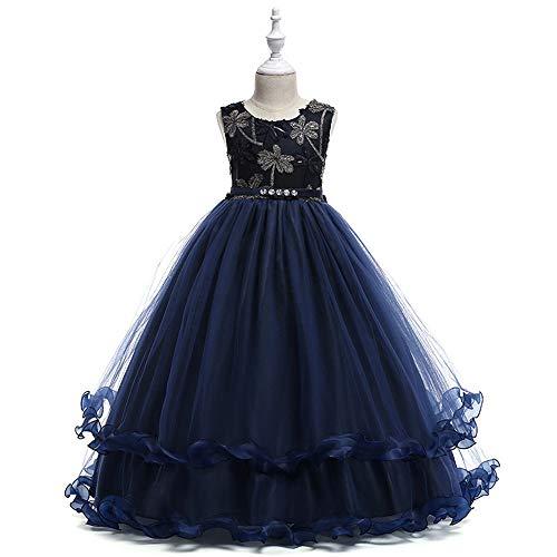 Chengzuoqing Prinzessin Kleider Mädchen bestickte Kleid Layered Formale Hochzeit Brautjungfer Ball Ballkleid Kleider Alter 3-8 Jahre Kleine Mädchen Kostüm (Color : Blue, Size : 120 cm)