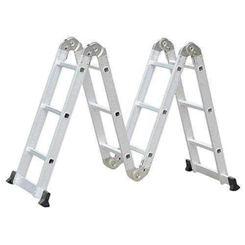 3.6M Leiter Mehrzweckleiter, Klappleiter Teleskopische Leiter mit Plattform mit Sicherheitsschloss Anti Rutsch Gummi, Aluminium DIY Erweiterbar faltbare Leiter 4x3 Sprossen Leitern Alu 150 kg Belastbarkeit