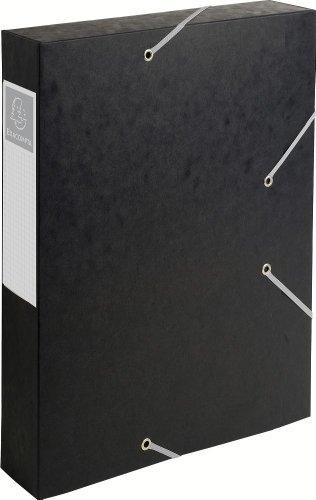 Exacompta 16016H Archivbox Cartobox Flach Geliefert rücken 60 mm, aus Manila Karton, Nature Future, Din A4, schwarz