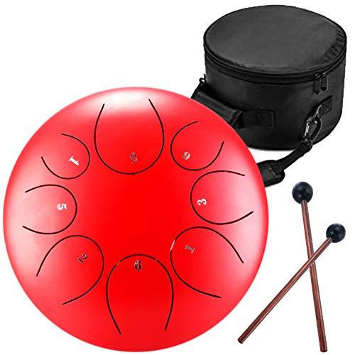 Handpan Zungentrommel 8 Noten 8 Zoll Chakra Tank Drum Stahl Percussion Hang Drum Instrument mit gepolsterter Reisetasche und Schlägel rot