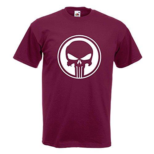 KIWISTAR - Punisher USA - Tank Totenkopf T-Shirt in 15 verschiedenen Farben - Herren Funshirt bedruckt Design Sprüche Spruch Motive Oberteil Baumwolle Print Größe S M L XL XXL Burgund