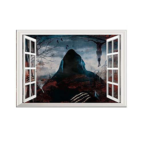 ARAYACY Kreative Stereo 3D Gefälschte Fenster Wandaufkleber/Halloween Horror Aufkleber/Wohnzimmer Schlafzimmer Dekoration Tapete