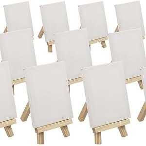 Lot de 100 Mini Chevalet 6,5x11,5cm + toiles 7x9cm - Présentoirs - marque place - Idéal pour mariage, banquet