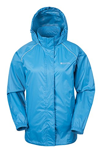 Mountain Warehouse Pakka Womens Waterproof Packable Jacket with Foldaway Hood and Pockets - Lightweight and Breathable Dark Teal 22
