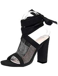 Hanomes Bocca di Pesce Croce Benda Sandali Gladiatore Comfort Piatto Sandalo  Piatto Scarpe Sandali Donna Tacco Eleganti Sexy… 62039bad34e
