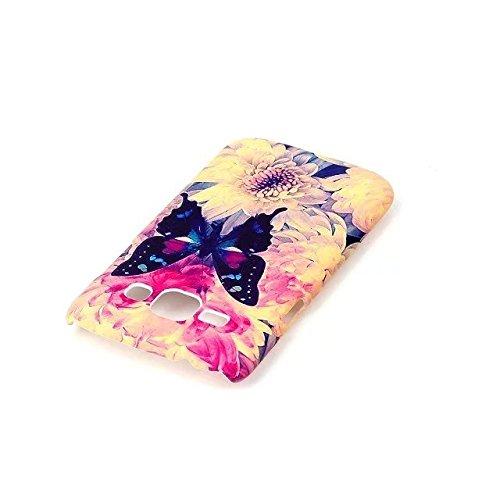 Samsung Galaxy J1 2015 Hülle,Sunroyal Retro Elegant Braun Feder Traumfänger Ultra Dünne Slim Hart PC Case Hülle Haut Zurück prägen Bunte Malerei Pattern Schutzhülle Cover Hart Rückseite Handytasche Hü A07