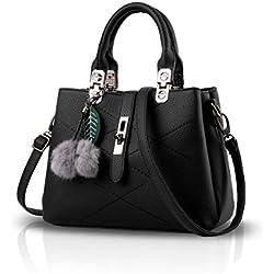 Nicole&Doris 2017 neue Welle Paket Kuriertasche Damen weiblichen Beutel Handtaschen für Frauen Handtasche(Black)