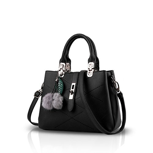 NICOLE & DORIS 2019 Neue Welle Paket Kuriertasche Damen weiblichen Beutel Handtaschen für Frauen Handtasche Schwarz -