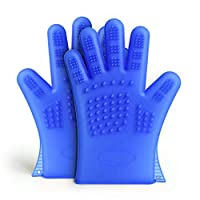 CAI CAI Silicone Gloves Non-Toxic Gentle and Hygienic Silicone Brush For Pet Grooming Cleaning Massage Brush A Pair Blue