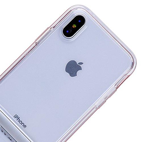 GrandEver iPhone X Hülle Weiche Silikon Handyhülle PC & TPU 2 in 1 Bumper Durchsichtig Schutzhülle für iPhone X Rückschale Klar Handytasche Anti-Kratzer Stoßdämpfung Ultra Slim Rückseite Silicon Backc Gold