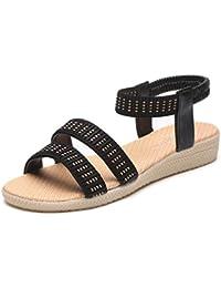 Sandalias mujer, Manadlian Zapatos planos de mujer Bohemia Día de San Valentín Sandalias de Ocio Peep-Toe Zapatos al aire libre (CN:39, Negro)