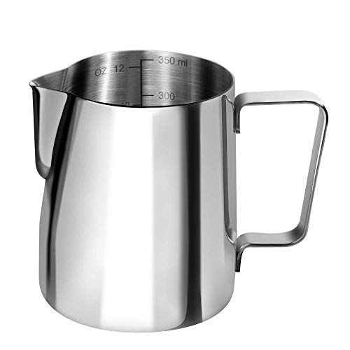 Anpro Milchkännchen, Milk Pitcher 350ml / 12 fl.oz. Milchkanne aus Edelstahl, Milch Aufschäumen für Cappuccino und Latté, Silber (9 × 7.5CM), MEHRWEG -
