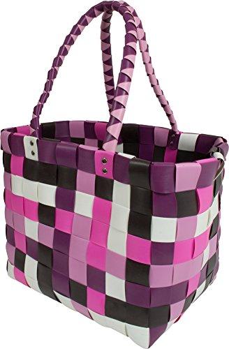 Große wasserabweisende Einkaufstasche - Henkeltasche - Tragetasche- Carrybag - geflochtener bunter Strandkorb Classic / Candy