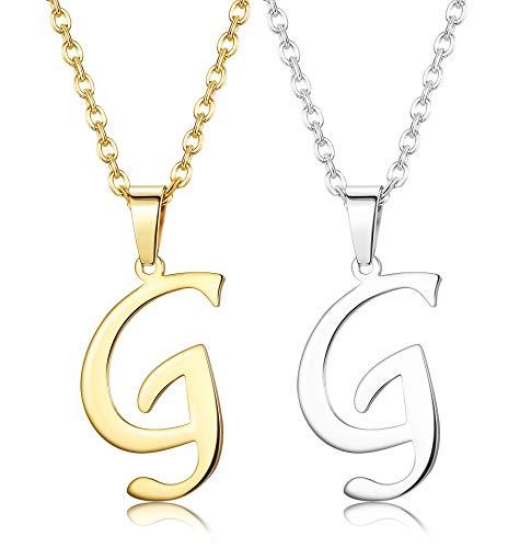 Finrezio Zwei Edelstahl Brief Kette Name Initiale Alphabet Buchstaben A bis Z Anhänger Halskette Für Damen Herren Kette G