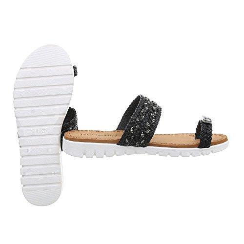 Ital-Design Zehentrenner Damenschuhe Sandalen Sandaletten Schwarz A-95