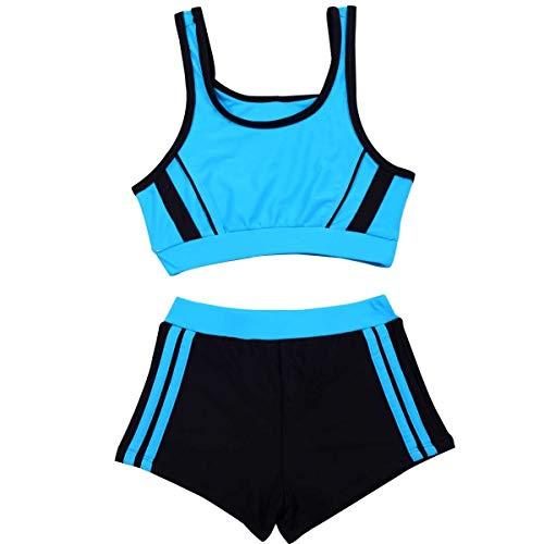 Mädchen Zwei Stücke Bademode Drucken Hohe Taille Swim Racing Anzug (Color : 2, Size : 8-12T)