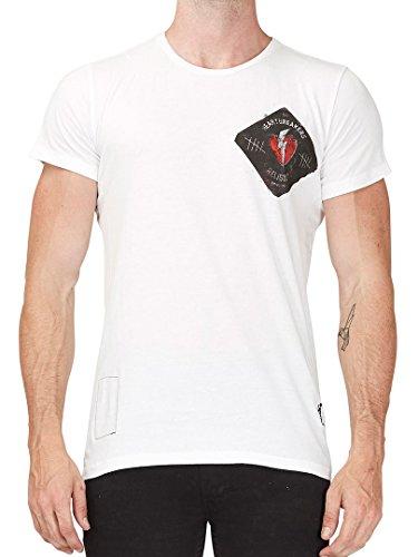 Religion Uomo Cuore Breaker sul petto sinistro logo T-shirt, Bianca, XX-Large