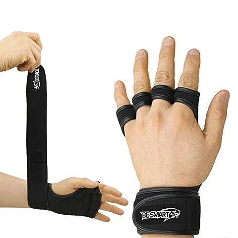 Gants d'entraînement en cuir rembourré de fitness body building gym haltérophilie Avec sangles, noir