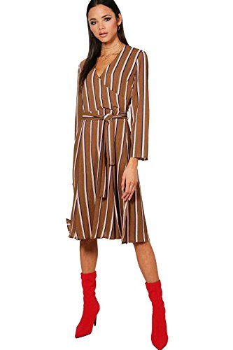 Mokka Damen Hallie Stripe Wrap Midi Dress - 10 (Mokka-camo)