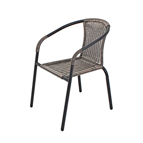 VARILANDO® 2er-Set Bistro-Stapelstuhl in braun aus Stahl und Kunststoffgeflecht Gartenstuhl Bistrostuhl