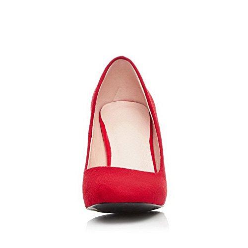 VogueZone009 Femme Tire à Talon Haut Suédé Couleur Unie Carré Chaussures Légeres Rouge