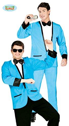 blauer Disco Anzug Kostüm für Herren Gr. M/L, (Jahre Kostüm Herren 50er)