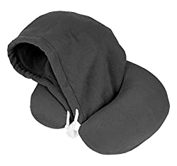 Travelstar hooded neck pillow - the clever neck pillow including hood for even more peace and relaxation, black
