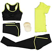 Blancho Bedding Mujeres 4 Piezas de Alto Impacto Trajes Deportivos Pantalones de Yoga Trajes de Gimnasia Transpirable