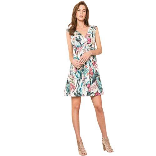 Sommerfrauen Kinder V-Ausschnitt Ärmelloses Kleid Blumendruck Familie Kleidung Eltern-Kind-Kostüm ()