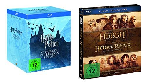 Harry Potter Box Teil 1-7.2 [8 Blu-rays] + Mittelerde Collection Box (Der Hobbit + Der Herr der Ringe Box) [6 Blu-rays]