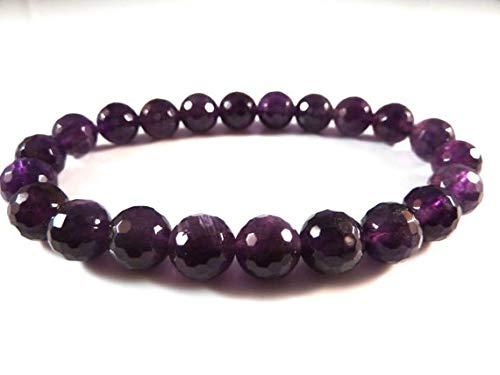 Beautiful jewelry AAA++ Quality Amethyst Stretch Bracelet 8mm Purple Micro Faceted Round Sparkly Deep Dark Gemstone Bead Code- JJS4778 Micro Womens Hut
