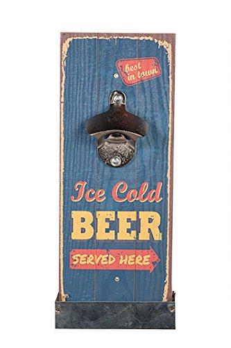 ***Edelstahl Flaschenöffner Holzboard mit Auffang - Behälter für Deckel , DECAP, perfekte Geschenkidee für Männer in ausgefallenem Design aus Holz und Edelstahl Wandmontage (BEER - Ice Cold)*** (Bier Homer)