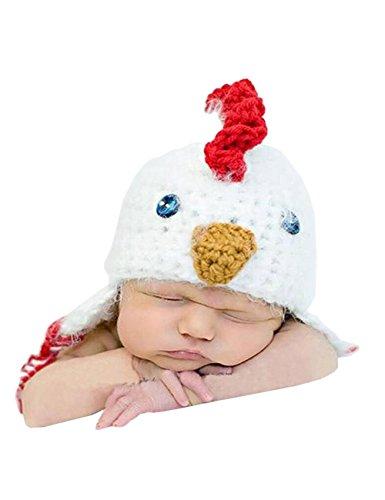 THEE Säugling Huhn Mütze Hut Baby Kostüm Fotografie Zubehör ,Weiß ()