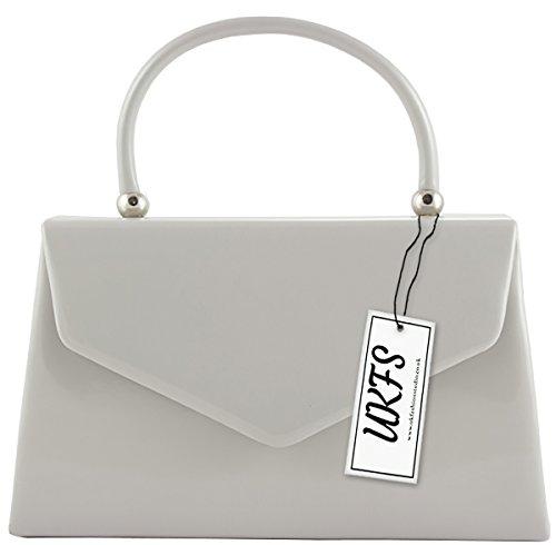 UKFS Piccolo Designer Hard Case brevetto frizione di sera della borsa Argento