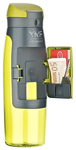 YOUMEFIT Sport Trinkflasche 750ml mit Fach für Geld, Karten I Sportflasche grün