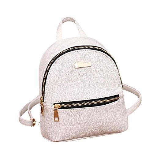 Damen Taschen OdeJoy Frauen Basic Rucksack PU Leader Taschen Mode klassisch Tasche Mehrfarbig Große Kapazität Tasche handtaschen taschen handtasche schwarz handtasche damen umhängetasche (Weiß)