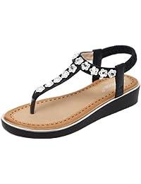 uBeauty Römische Sandalen Damen Bequeme Atmungsaktiv Zehentrenner Leder Flach Rutschfest Sexy und Stilvoll Schuhe Schwarz Kristall 40.5 EU z4dtDG