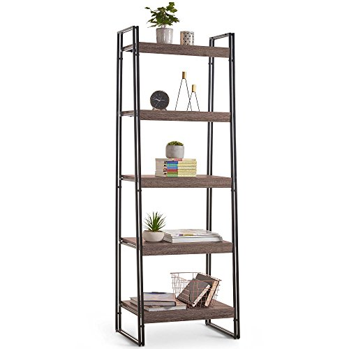 VonHaus 5 Tier Ladder Bookcase – Bookshelf – Wood Effect Rustic Storage Unit – Accent Furniture – Living Room Dining Room Furniture