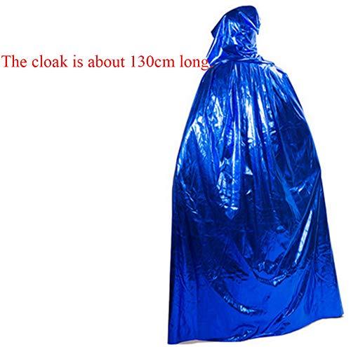 Für Kostüm Zauberer Verkauf - WFXZT Halloween Kostüm, Cosplay-Kostüm für Erwachsene, Robenumhang des schwarzen Zauberers, Vampirumhang,Blau,1.2m
