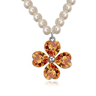 Daesar Schmuck Damenkette Vergoldet 4 Herz Blumes Synthetische Kristall Halskette Zirkonia Halskette Anhänger