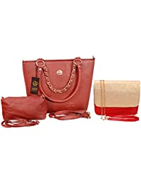 Anemone Women's Shoulder Bag 01 And Sling Bag 01 Combo (Brown Red)