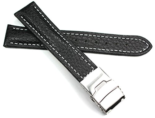 Uhrenarmbänder Leder  Schwarz  mit weißer Naht und Faltschließe 26 mm,