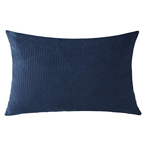 VIOAPLEM Navy Blue Cushion Cover Soft Corduroy Sofa Decorative Throw Pillow Case for Home Decor 12x20 Inch