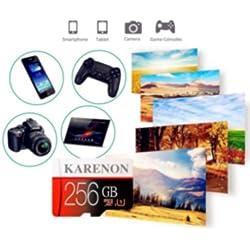 Karenon Carte Micro SD 256 go, Carte Mémoire SD 256 Go Classe 10 + Adaptateur SD(DR135-HY) (256 Go)