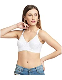 d72f9ef3da DAISY DEE White Color Cotton Solid Wirefree Regular Straps Seamed Full  Coverage Non Padded Bra for